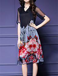 Women's Vintage Print Plus Size / Loose Dress,V Neck Knee-length Silk / Polyester