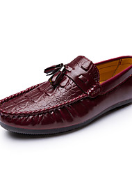 Men's Shoes Leather Spring Summer Moccasin Loafers & Slip-Ons For Casual Black Brown Red