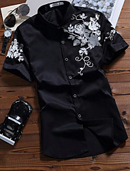 Men's Casual/Daily Simple Shirt,Print Shirt Collar Short Sleeve Cotton Thin