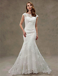 Mermaid / Trumpet Scoop Neck Court Train Lace Tulle Wedding Dress with Appliques Lace by SGYJ