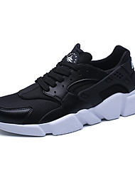 Men's Athletic Shoes Comfort Light Soles Tulle Sneakers Casual Flat Heel Running Shoes Black White Red