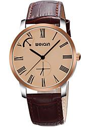 Masculino Relógio de Moda Automático - da corda automáticamente Impermeável Couro Banda Preta Marrom