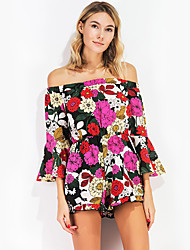 Women's High Rise Going out Casual/Daily Holiday Rompers,Sexy Vintage Cute Slim Floral Summer