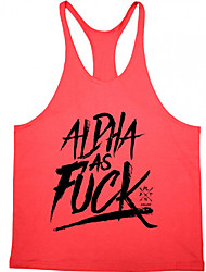 Men's Sports Casual/Daily Simple Summer Tank Top,Print Letter Round Neck Sleeveless Cotton Thin