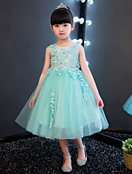 Ball Gown Knee-length Flower Girl Dress - Cotton Lace Organza Jewel with Beading Appliques Lace