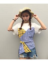 Damen Verziert Patchwork Einfach Lässig/Alltäglich T-shirt,Rundhalsausschnitt Kurzarm Andere
