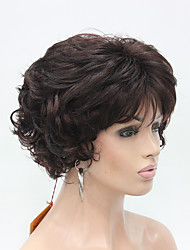New Wavy Curly Dark Auburn Mix Off Black Short Synthetic Hair Women's Full  Thick Wig For Everyday
