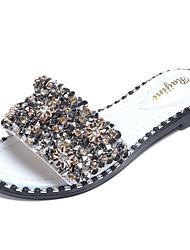 Women's Sandals Comfort PU Spring Summer Casual Dress Comfort Rhinestone Crystal Beading Flat Heel White Black Flat