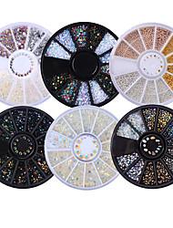 6 caixa de modelos mistos brilhantes nail rhinestones 3d unha arte decorações em roda plana fundo manicure diy nail art acessórios