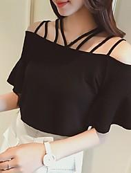 Damen Solide Sexy Einfach Lässig/Alltäglich T-shirt,Bateau Kurzarm Baumwolle