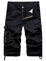 Homme Vintage simple Taille Normale Micro-élastique Chino Short Pantalon,Droite Couleur Pleine