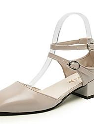 Women's Sandals Summer Comfort PU Outdoor Low Heel Beige Black