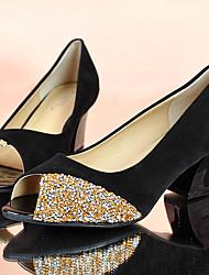 Damen-Sandalen-Lässig-Wildleder-Blockabsatz-Komfort-