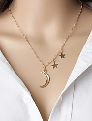 Women's Pendant Necklaces Moon Star Alloy Euramerican Fashion Gold Jewelry For Daily 1pc