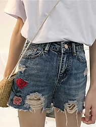 Women's Embroidery High Rise strenchy Jeans Shorts Pants,Street chic Slim Print