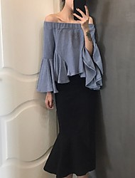 Femme Taille Haute Midi Jupes,Trompette/Sirène Couleur Pleine