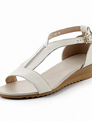Women's Beige Cow Leather Sandals Gladiator Flats Shoes