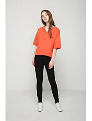Damen Solide Sexy Einfach Street Schick Ausgehen Lässig/Alltäglich T-shirt,V-Ausschnitt Sommer Herbst Kurzarm Baumwolle Mittel