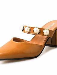 Women's Slippers & Flip-Flops Sandals Comfort PU Summer Casual Walking Comfort Beading Chunky Heel Black Beige Yellow 3in-3 3/4in