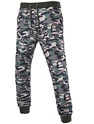 Masculino Chique e Moderno Casual Na moda Cintura Média Micro-Elástico Chinos Calças Esportivas Calças,Delgado Harém Camuflagem