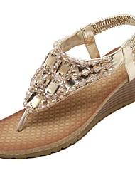 Women's Sandals Spring Summer Fall Comfort Light Soles PU Office & Career Dress Casual Wedge Heel Rhinestone Beading Gore Silver Gold