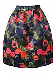 Women's High Rise Above Knee Skirts A Line Floral