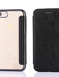 For Apple iPhone 7 Plus 7  Card Holder Plating Case Full Body Case Solid Color Hard PU Leather For Apple iPhone 6s Plus 6 Plus 6S 6 5 5S SE