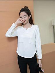 Damen Solide Sexy T-shirt,V-Ausschnitt Langarm Baumwolle Mittel