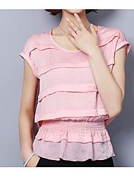 Tee-shirt Femme,Couleur Pleine Bureau/Carrière Autre Décontracté simple Manches Courtes Col Arrondi Autre