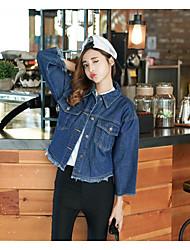 Feminino Jaqueta jeans Outros Colarinho de Camisa Manga Longa