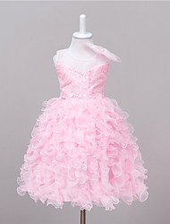 Princess Knee Length Flower Girl Dress - Lace Sleeveless Jewel Neck with Applique by Baihe
