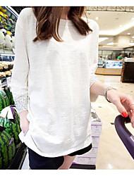 Damen Solide Einfach T-shirt,Rundhalsausschnitt Frühling ¾-Arm Baumwolle Dünn