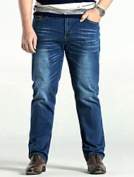 Men's Mid Rise Micro-elastic Straight Jeans PantsSimple Loose Straight Solid YF-3812