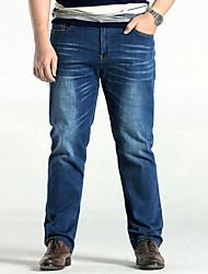 Homme simple Taille Normale Micro-élastique Droite Jeans Pantalon,Ample Droite Couleur Pleine