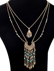 Pendant Necklaces Chain Necklaces Layered Necklaces Rhinestone Drop Jewelry Alloy Bohemian Luxury Party Wedding Casual Statement Movie Jewelry