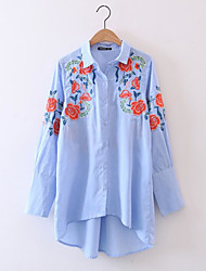 Women's Daily Simple Shirt,Embroidery Shirt Collar Long Sleeve Polyester