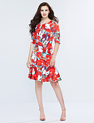Women's Ruffle Casual/Daily Simple Sheath Dress,Print Round Neck Knee-length ½ Length Sleeve Polyester Red Spring Mid Rise Inelastic