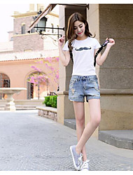 Women Mid Rise Micro-elastic Shorts Pants,Street chic Slim Pure Color Jacquard Solid Floral