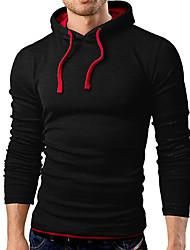 Masculino Camiseta Diário Casual Interior Activo Primavera Outono,Sólido 100% algodão Com Capuz Manga Longa 10D