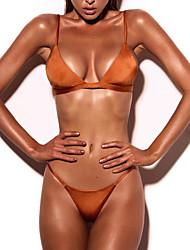 Women's Halter Bikini Solid Plunging Neckline Solid