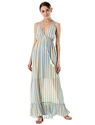 SUOQI Summer Women Dress Sexy Backless Slings Chiffon Dress Striped Print Holiday Maxi Dresses