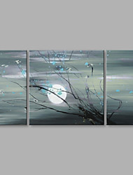 Hand-Painted Abstract Landscape Big and Round Moon Modern 3 Panels Canvas Oil Painting For Home Decoration
