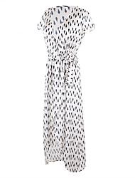 Trapèze Robe Femme Soirée Quotidien simple Chic de Rue,Imprimé Col en V Maxi Asymétrique Manches Courtes Coton Eté Taille HauteNon