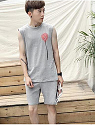 Men's Casual Simple Tank Top,Solid Round Neck Sleeveless Cotton