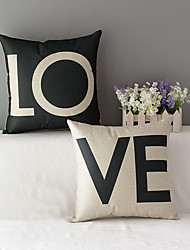 Set Of 2 Creative LOVE Lovers Printing Pillow Cover Cotton/Linen Pillow Case