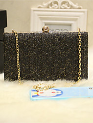 Women Evening Bag PU All Seasons Event/Party Party & Evening Club Baguette Magnetic Black White