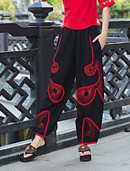 Mujer Sencillo Tiro Medio Microelástico Corte Ancho Pantalones,Holgado A Cuadros