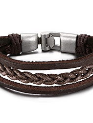 Men's Leather Bracelet Friendship Hip-Hop Rock Movie Jewelry Initial Jewelry Costume Jewelry Fashion Leather Circle Round Jewelry For