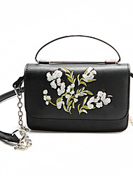 Women Shoulder Bag PU All Seasons Casual Flap Flower Magnetic khaki Black