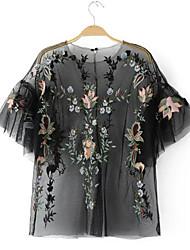 Damen Stickerei Einfach Lässig/Alltäglich T-shirt,Rundhalsausschnitt Kurzarm Polyester
